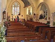 L'interno della chiesa di San Pietro a East Blatchington